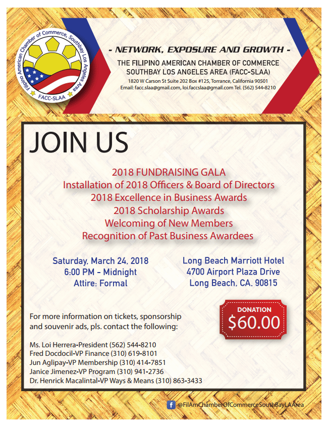 Facc Slaa Annual Induction Fundraising Gala South Bay Events